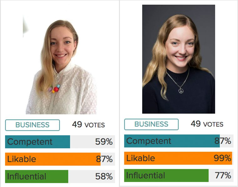 Two corporate headshots of woman with votes underneath