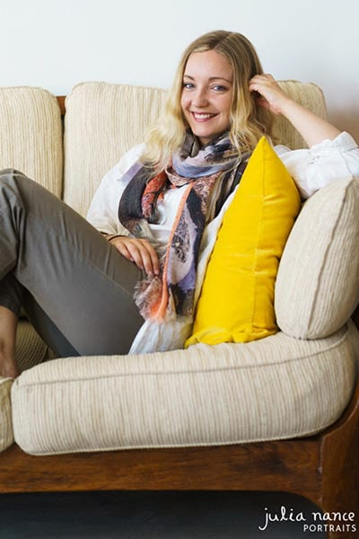 Melbourne Personal Branding Portrait & Corporate Headshot - Blonde woman smiling with scarf
