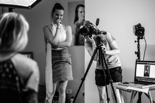 Julia Nance Photographing in the Julia Nance Portrait photography studio, in Lilydale, Melbourne's Eastern Suburbs