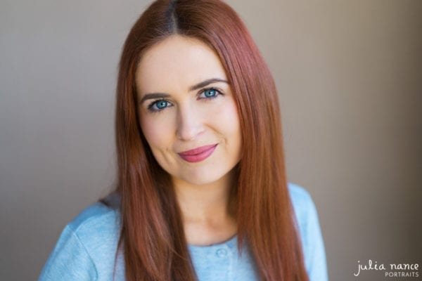 Melbourne actor headshot with natural light of beautiful redhead